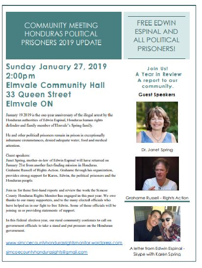 Honduras Political Prisoners January 27 2019 Elmvale Community Meeting