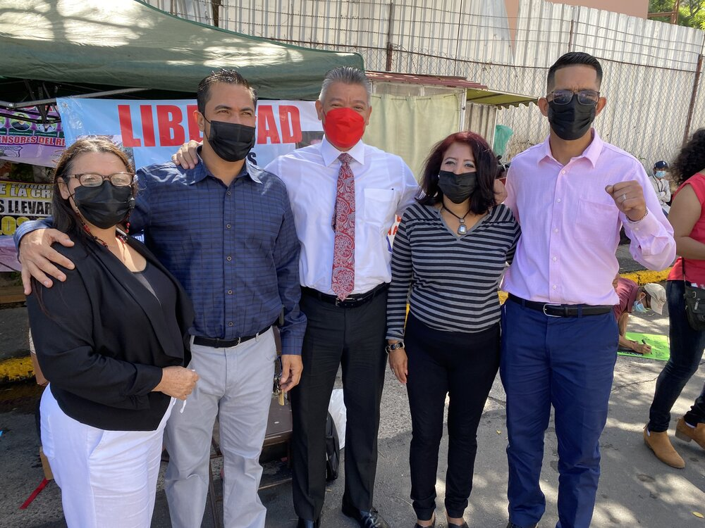 Outside the court this morning. From left to right: Prisila Alvarado, one of Edwin's two lawyers; Edwin Espinal; Omar Menjivar, Edwin's second lawyer; Alba Lopez, member of the Committee for the Freedom of Political Prisoners in Honduras; and Raul A…